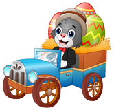 Coelhinho da Páscoa que conduz ovos da páscoa levando de um carro Fotografia de Stock Royalty Free