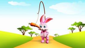 Coelhinho da Páscoa que corre atrás da cenoura ilustração royalty free