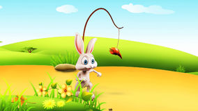 Coelhinho da Páscoa que corre atrás da cenoura ilustração do vetor
