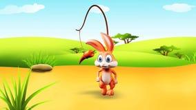 Coelhinho da Páscoa que corre atrás da cenoura ilustração stock