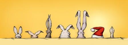 Coelhinhos da Páscoa com convidado da surpresa ilustração royalty free