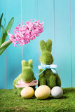 Coelhinhos da Páscoa com ovos e flor do jacinto Fotos de Stock