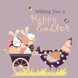 Coelhinhos da Páscoa, galinha e ovos da páscoa Imagens de Stock Royalty Free