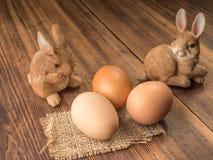 Coelhinhos da Páscoa no fundo da tabela de madeira das placas idosas com serapilheira e os ovos marrons da galinha Fotografia de Stock Royalty Free