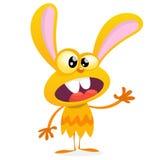 Coelho amarelo bonito do monstro Monstro do coelho do vetor de Dia das Bruxas com ondulação grande das orelhas No branco ilustração do vetor