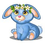 Coelho azul bonito com flores e as orelhas cor-de-rosa ilustração stock