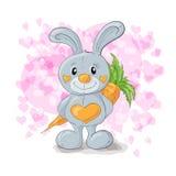 Coelho bonito com desenhos animados dos corações Imagem de Stock Royalty Free