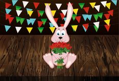 Coelho bonito com um ramalhete de rosas vermelhas Uma lebre com flores GA Imagens de Stock Royalty Free