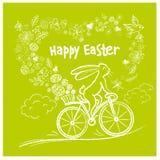 Coelho bonito da Páscoa na bicicleta da cidade com o ovo do presente na cesta Vect ilustração stock