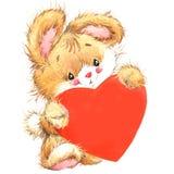 Coelho bonito de Valentine Dayand e coração vermelho watercolor ilustração stock