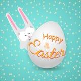 Coelho bonito do coelho com ovo em um fundo azul com texto feliz da Páscoa das flores um desenho criativo de um caráter da garatu ilustração stock
