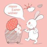 Coelho bonito e ovos da páscoa Conceito feliz de Easter Projeto colorido Ilustração do vetor Imagem de Stock