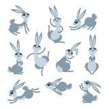Coelho bonito ou lebre dos desenhos animados Coelhos engraçados pequenos Vector a ilustração agrupada e mergulhada para a edição  ilustração royalty free
