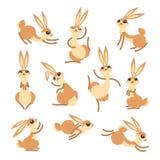 Coelho bonito ou lebre dos desenhos animados Coelhos engraçados pequenos Vector a ilustração agrupada e mergulhada para a edição  ilustração stock