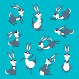 Coelho bonito ou lebre dos desenhos animados Coelhos engraçados pequenos Vector a ilustração agrupada e mergulhada para a edição  ilustração do vetor