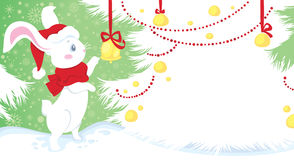 Coelho branco - símbolo do horoscope chinês Imagens de Stock