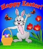 Coelho com os ovos da páscoa nos desenhos animados da cesta com Imagem de Stock Royalty Free