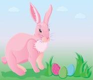 Coelho cor-de-rosa com ovos de easter Foto de Stock Royalty Free
