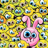 Coelho cor-de-rosa e galinhas amarelas Fotografia de Stock Royalty Free
