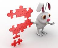 coelho 3d com ponto de interrogação do conceito do enigma de serra de vaivém Fotografia de Stock Royalty Free
