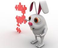 coelho 3d com ponto de interrogação do conceito do enigma de serra de vaivém Fotografia de Stock