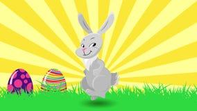 Coelho de coelho bonito da dança e ovos do salto Animação feliz do cartão da Páscoa do feriado ilustração do vetor