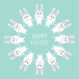 Coelho de coelho bonito Easter feliz Frame redondo Projeto liso Foto de Stock Royalty Free