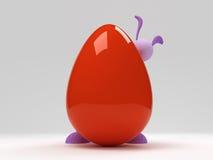 Coelho de Easter atrás do ovo vermelho grande Fotos de Stock Royalty Free