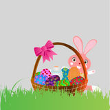 Coelho de Easter com a cesta Imagem de Stock