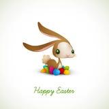Coelho de Easter com ovos coloridos Imagens de Stock