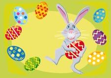 Coelho de Easter com ovos de easter ilustração do vetor