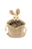 Coelho de Easter com um saco cheio Fotos de Stock