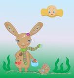 coelho de easter com uma cesta Imagem de Stock Royalty Free