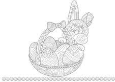 Coelho de Easter com uma cesta ilustração royalty free