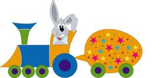 Coelho de Easter em uma locomotiva Fotos de Stock