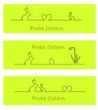 Coelho de Easter, ovos de easter, e daffodil (alemão) Fotografia de Stock Royalty Free