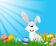 Coelho de Easter que senta-se com ovos Fotografia de Stock