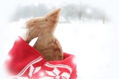 Coelho de madeira da Páscoa com o lenço vermelho na neve fotografia de stock royalty free