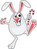 Coelho de salto engraçado feliz do ano novo dos desenhos animados Fotos de Stock Royalty Free