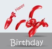 Coelho do balão do cartão do feliz aniversario Imagens de Stock Royalty Free