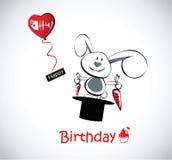Coelho do cartão do feliz aniversario Fotos de Stock Royalty Free