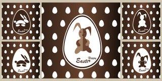 Coelho do chocolate do teste padrão no ovo da páscoa Imagem de Stock