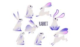 Coelho dos desenhos animados com orelhas ultravioletas ilustração stock
