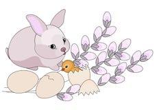 Coelho e galinha de Easter. Ilustração do vetor ilustração do vetor