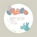 Coelho e ovos da páscoa do ute do ¡ de Ð Conceito feliz de Easter Projeto colorido Ilustração do vetor Fotos de Stock Royalty Free