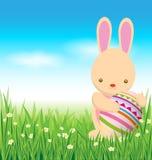Coelho e ovos da páscoa na grama verde Imagens de Stock