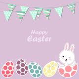 Coelho e ovos felizes de Easter Imagens de Stock Royalty Free