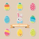 Coelho e ovos felizes de Easter Fotografia de Stock Royalty Free
