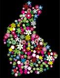 Coelho floral ilustração do vetor