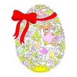 Coelho floral de Ester Egg With e fita vermelha Fotos de Stock Royalty Free